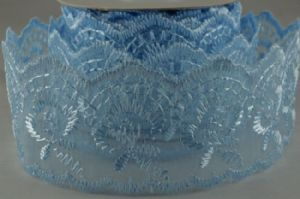 WOVEN LACE EFFECT RIBBON   BLUE  88015